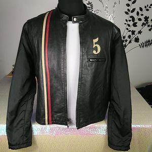 Hilfiger vintage premium leather men's jacket L